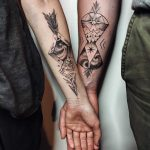 Custom matching tattoos for a couple