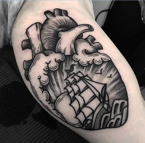 Dot-work heart tattoo by Jack Peppiette