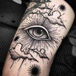 Eye in the clouds tattoo