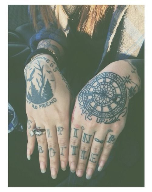 Forest scenery, clock and other black tattoos