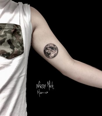 Full moon tattoo done by Nerdy Match Marco
