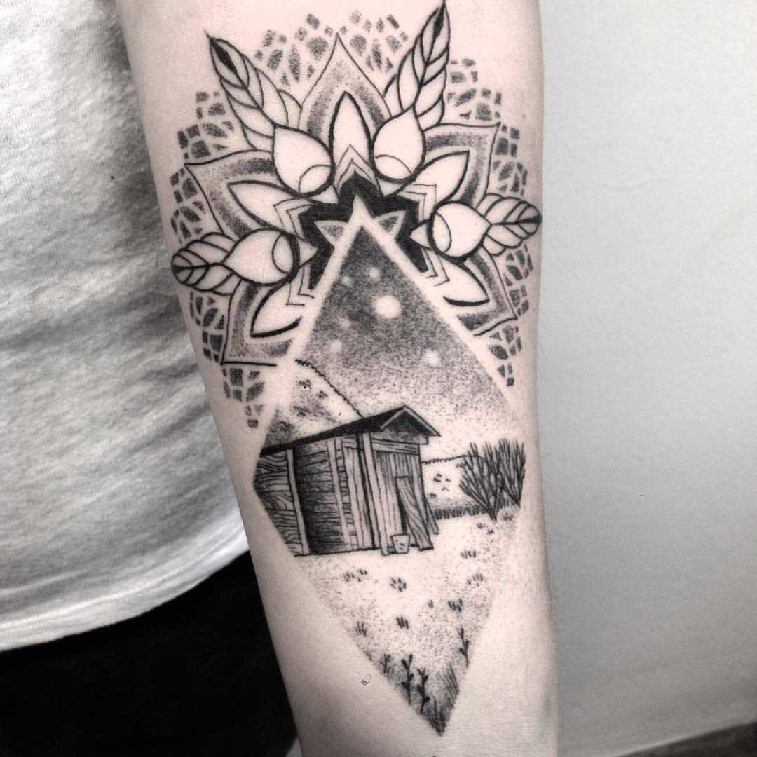 Garden landscape and mandala tattoo