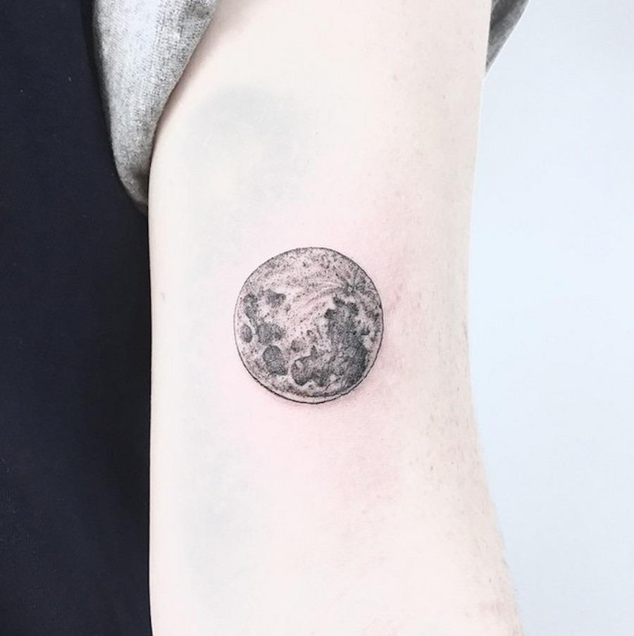Grey moon tattoo