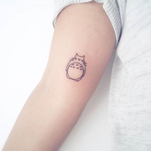 Hand-poked Totoro tattoo by Anelli Pamela