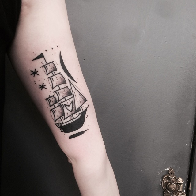 Hanging ship tattoo