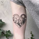 Heart-shaped desert landscape tattoo by Marla Moon