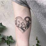 Heart-shaped desert landscape tattoo by Marla Moon