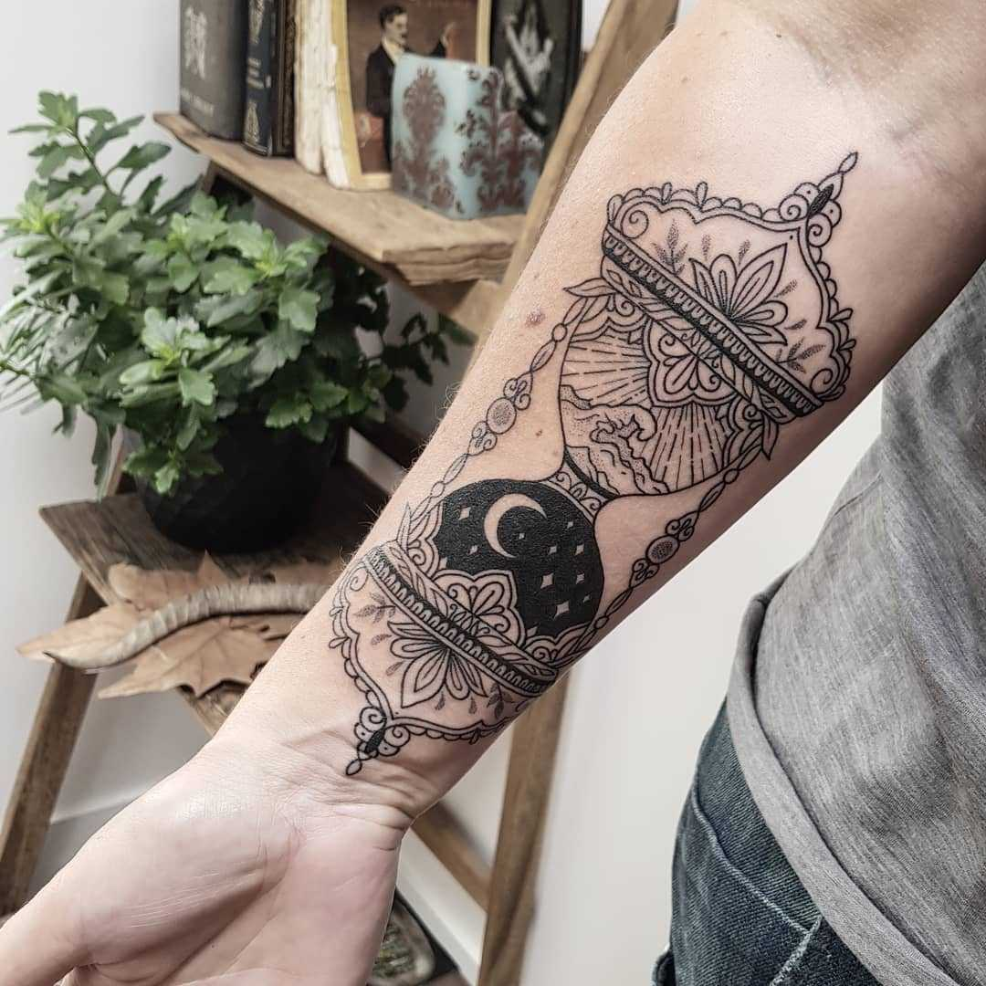 Hourglass tattoo with landscapes