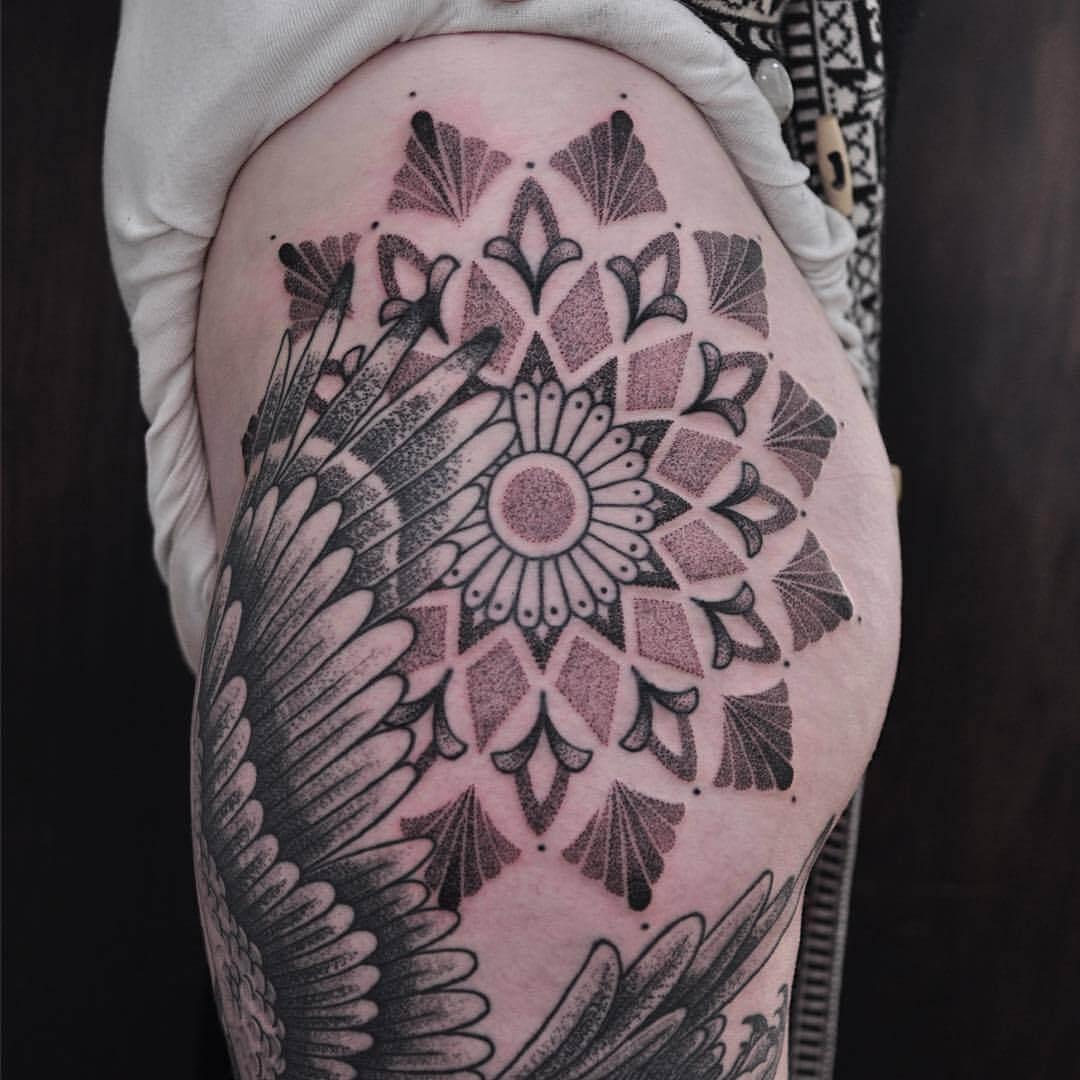 Huge mandala tattoo on the hip by Vic Market Tattoo