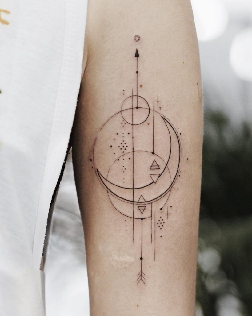 Impossibly thin line geometry tattoo