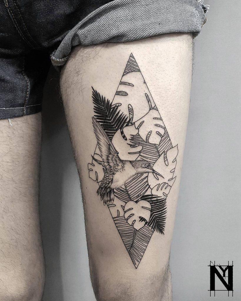 Jungle greenery tattoo by Shay Y