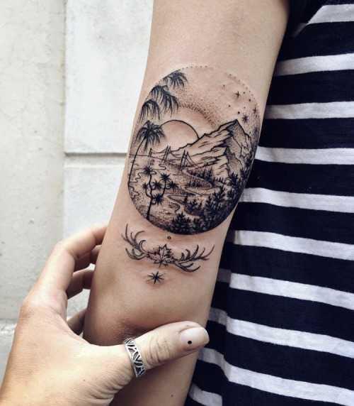 Landscape tattoo by Sasha Kiseleva