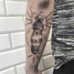 Lightbulb - lighthouse tattoo