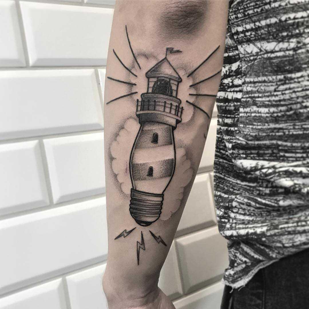Lightbulb – lighthouse tattoo