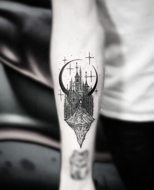 Magic castle tattoo by Thomas Eckeard