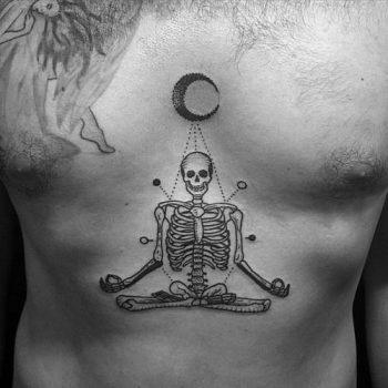Meditating skeleton tattoo