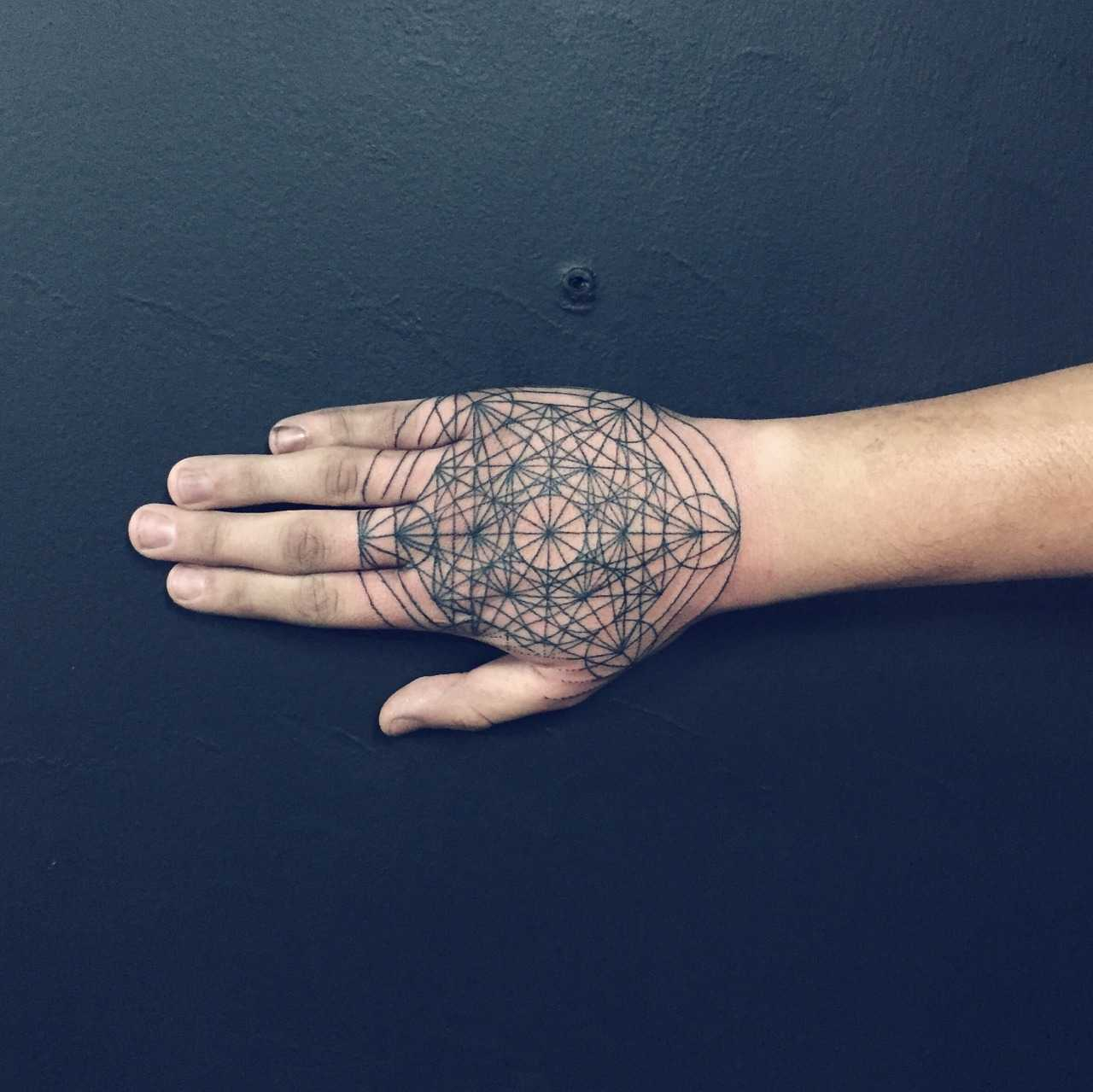 Metatrons cube tattoo by Shanna Keyes