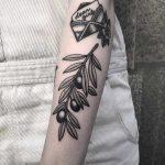 Minimalist olive branch tattoo