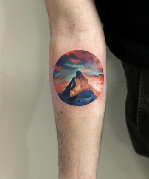 Mountain peak tattoo by Martynas Šnioka