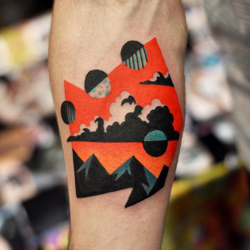 Mountains and clouds tattoo by David Cote
