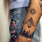 North star, stairway and forest tattoo by Sasha Kiseleva