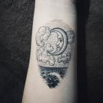 Ocean, clouds, and moon tattoo by Tattooist Doy