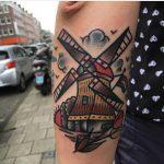 Old-school windmill tattoo by Jeroen Van Dijk