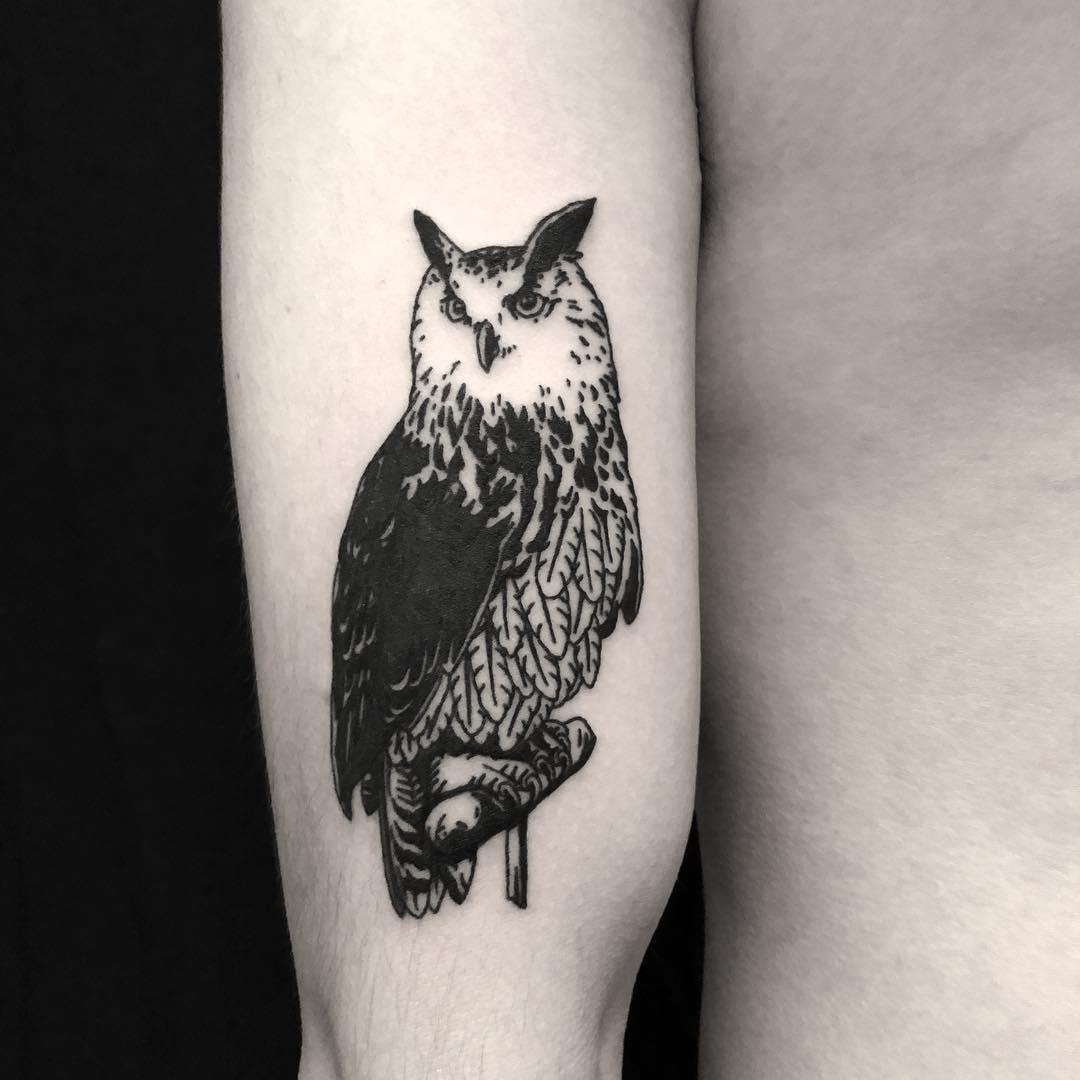 Owl tattoo done at BK Ink Studio