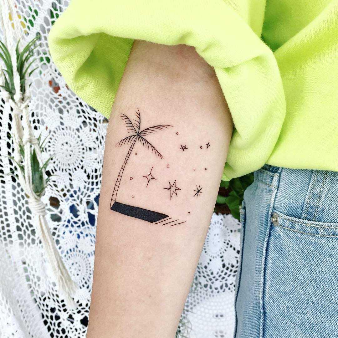 Palm tree and stars tattoo