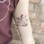Paper crane tattoo by Mary Tereshchenko