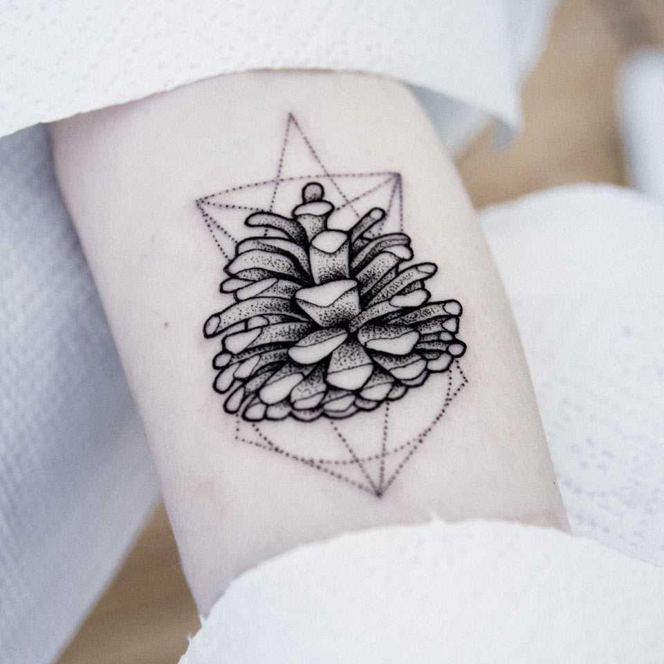 Pine cone tattoo by Dogma Noir