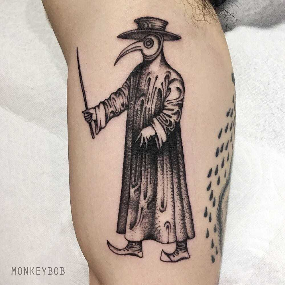 Plague doctor tattoo by tattooist Monkey Bob