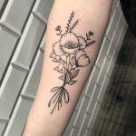 Poppy flower bundle tattoo