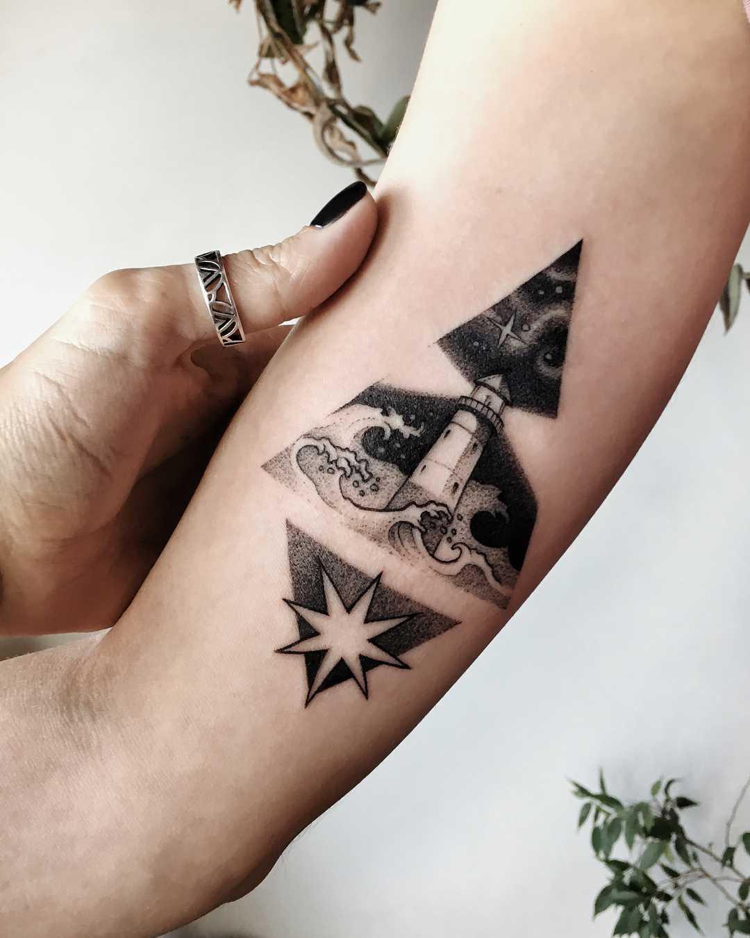 Rocket lift off tattoo by Sasha Kiseleva