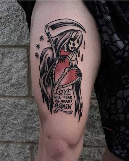 Sad Grim Reaper tattoo by tattooist Perry