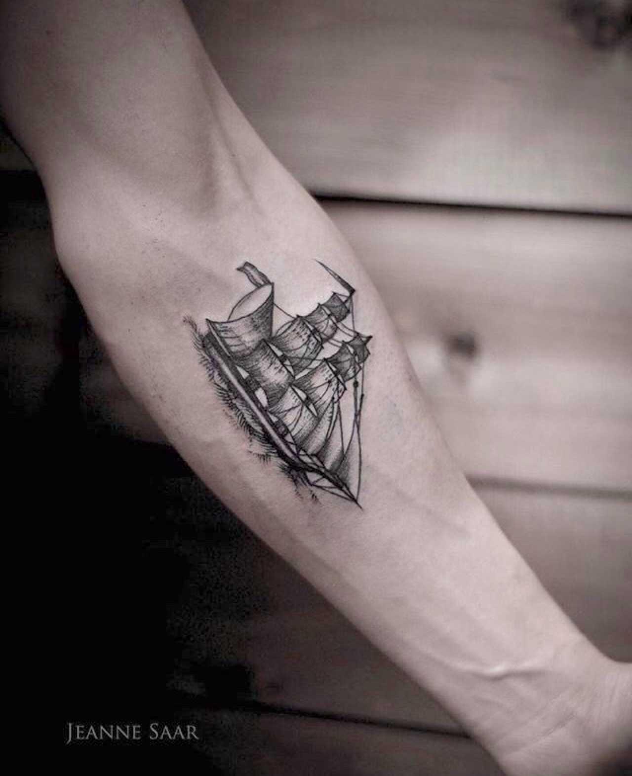 Ship tattoo by Jeanne Saar