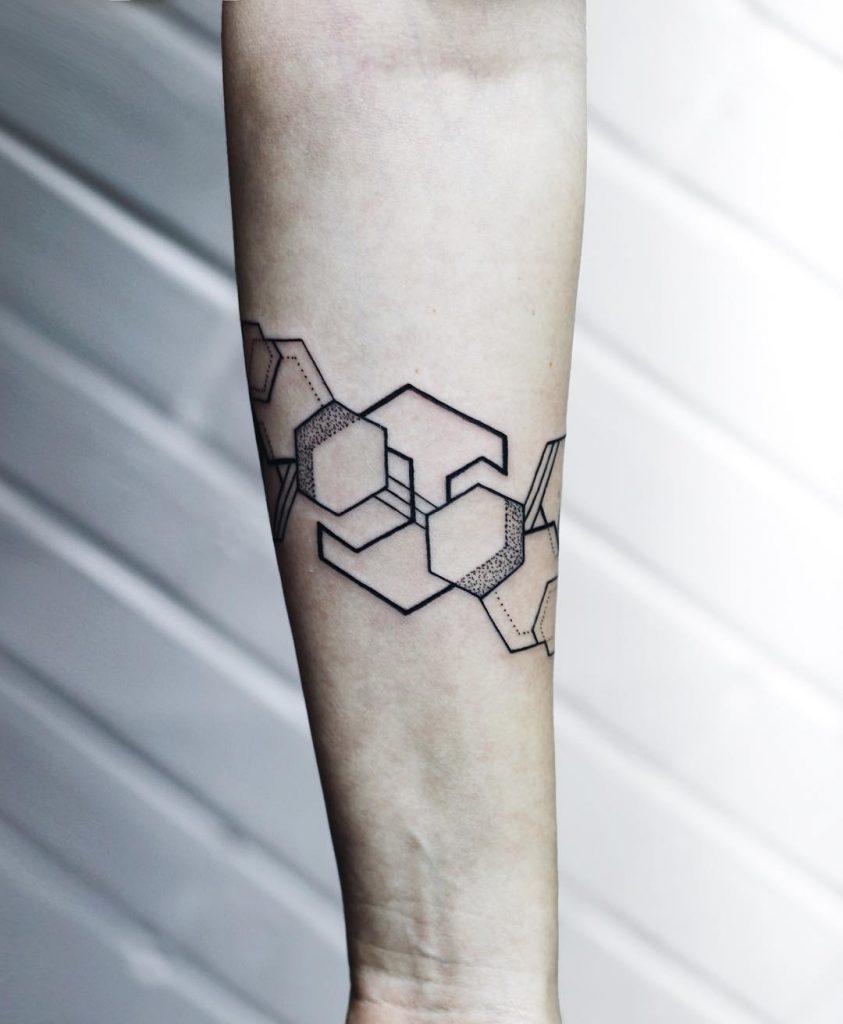 Simple hexagon tattoos
