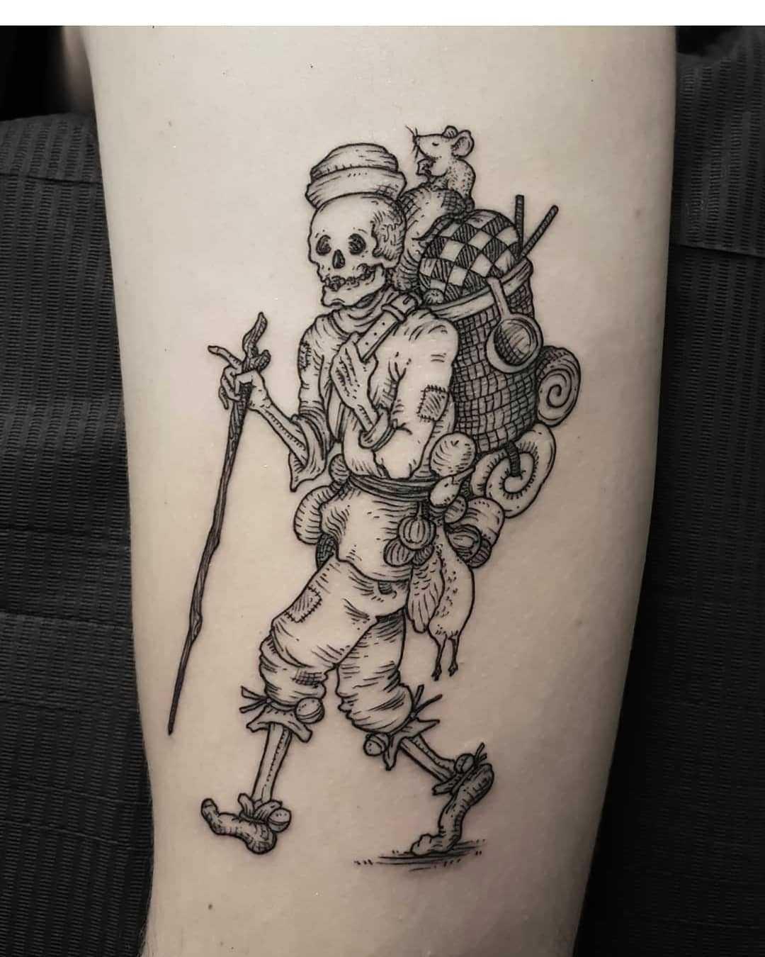 Skeleton traveler tattoo