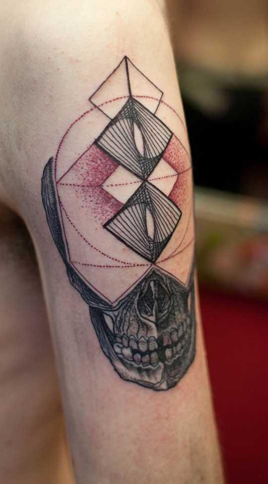 Skull geometry tattoo