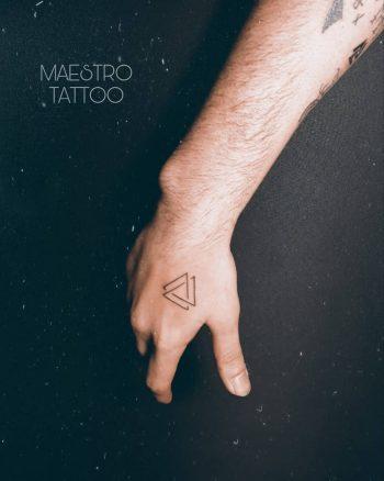 Small Valknut tattoo on the hand