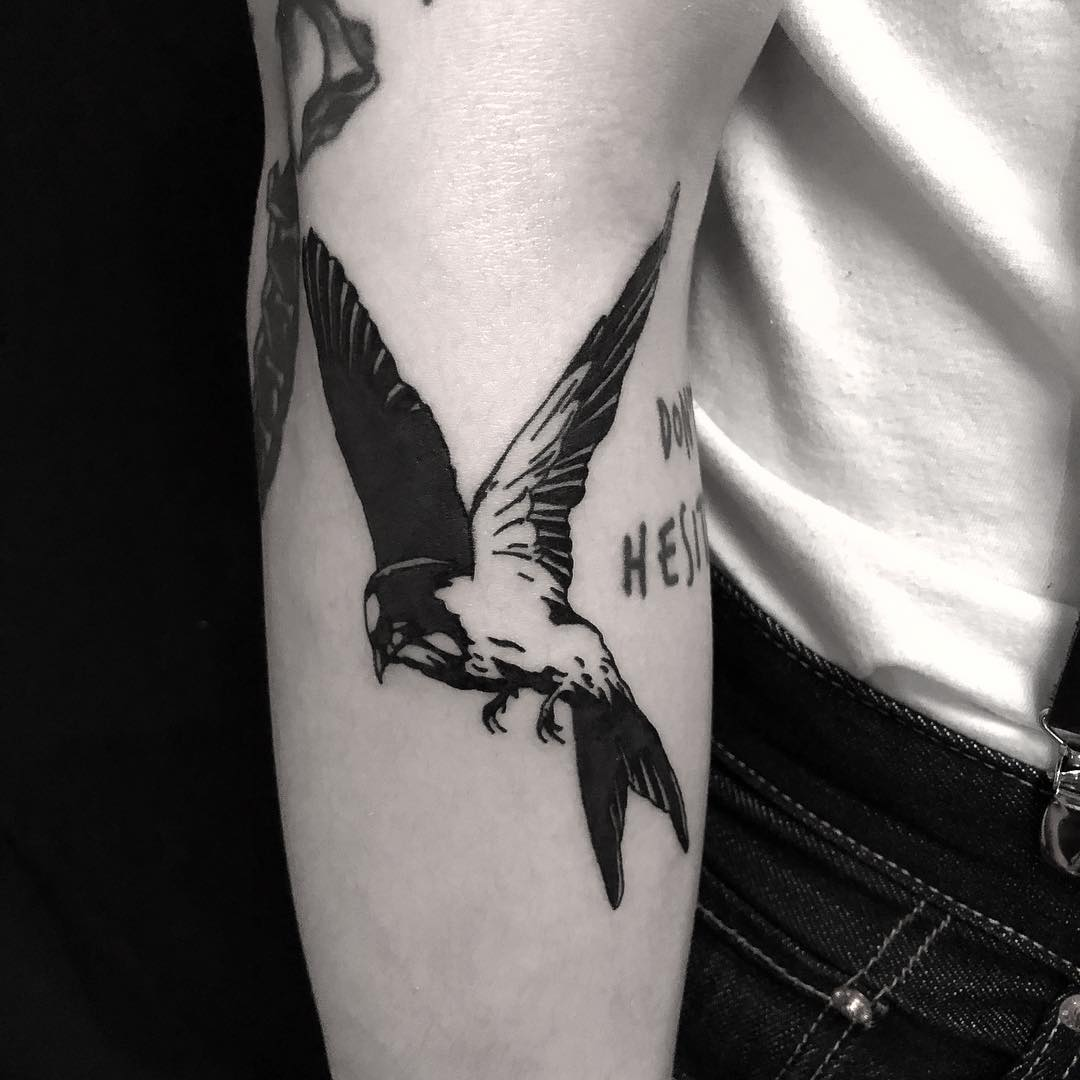 Swallow tattoo done at BK Ink Studio