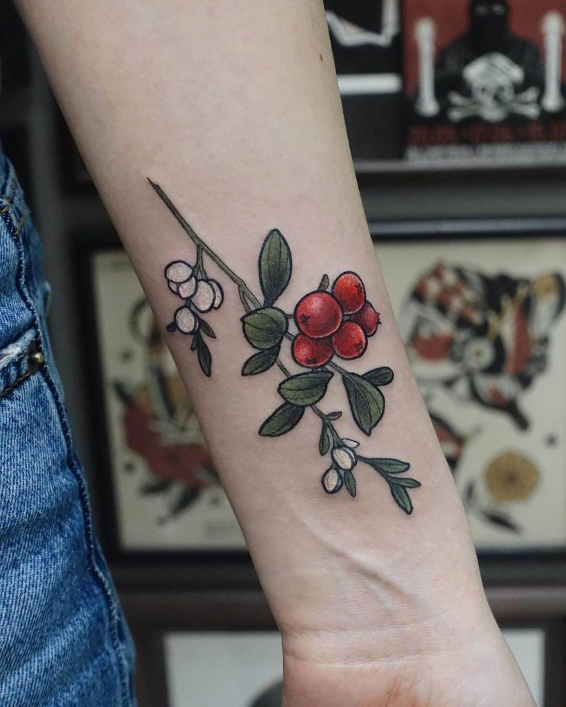 Tiny little cranberry tattoo on the wrist