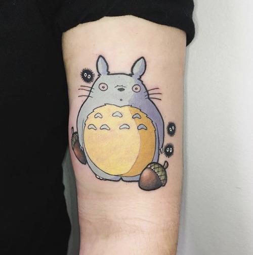 Totoro and acorns tattoo