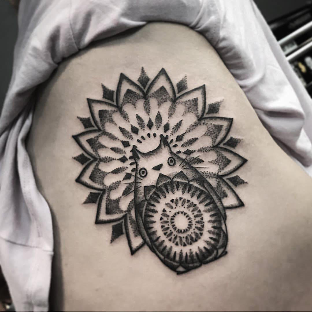 Totoro and mandala tattoo by Unkle Gregory
