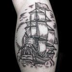 Traditional dutch ship tattoo