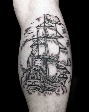 Traditional dutch ship tattoo