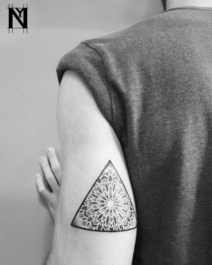 Triangular mandala tattoo