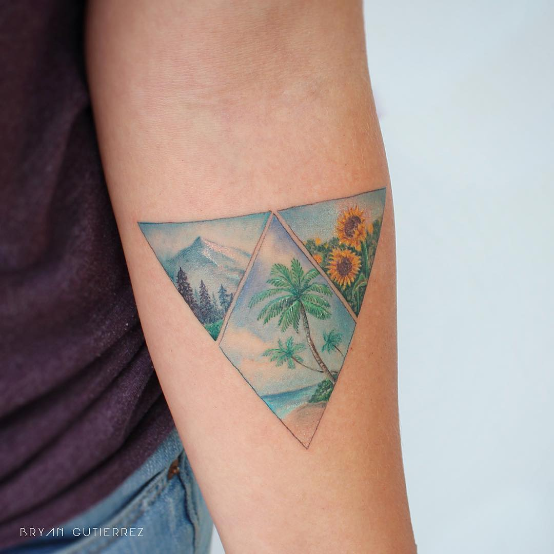 Tripple triangular landscape by Iris Tattoo