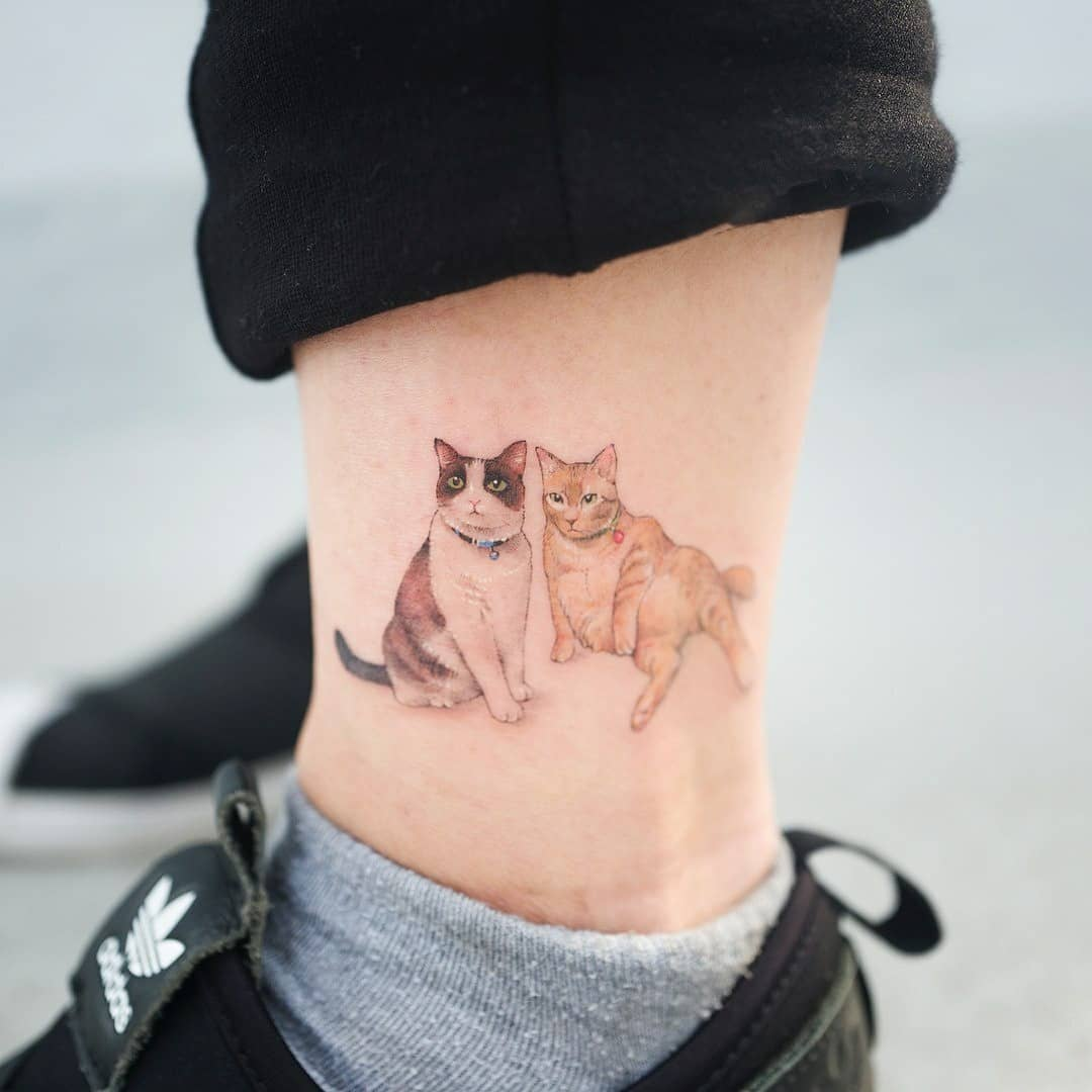 Two cats on the left ankle