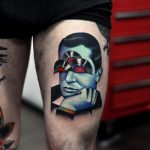 Vinyl man tattoo done at Fronte Del Porto Tattoo studio
